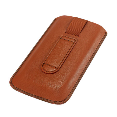 universal leather style pouch for smartphones tan