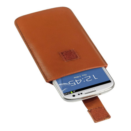 know moremust universal leather style pouch for smartphones tan