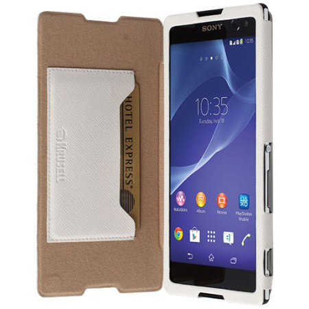 Krusell malmo flipcover sony xperia c3 wallet case white reheart Gallery