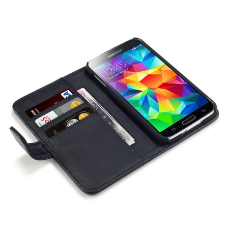 Olixar genuine leather samsung galaxy s5 wallet case black for Housse samsung s5