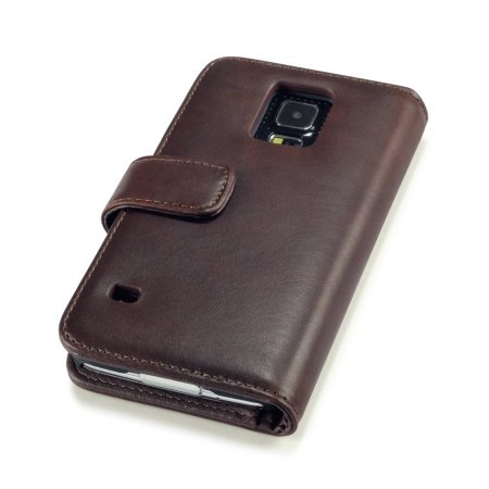 Olixar Samsung Galaxy S5 Genuine Leather Wallet Case - Brown
