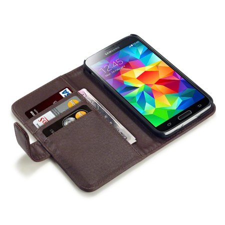 Olixar Samsung Galaxy S5 Genuine Leather Wallet Case - Brown