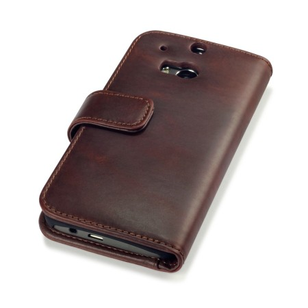 Olixar htc one m8 genuine leather wallet case black