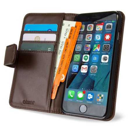 new style 6b596 b15e6 Olixar Genuine Leather iPhone 6S / iPhone 6 Wallet Case - Brown