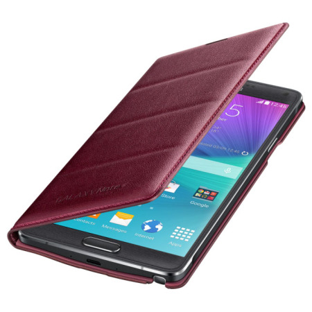 Official Samsung Galaxy Note 4 Flip Wallet Cover - Plum