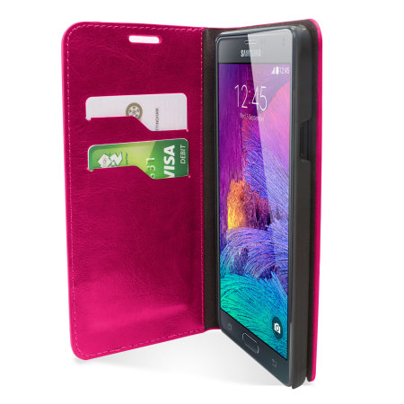 Encase Leather-Style Galaxy Note 4 Wallet Stand Case - Pink