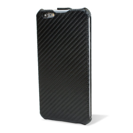 Encase iPhone 6 Plus Carbon Fibre Leather-Style Flip Case - Black