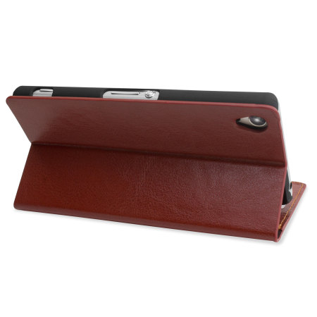 Encase Leather-Style Sony Xperia Z3 Wallet Case - Brown