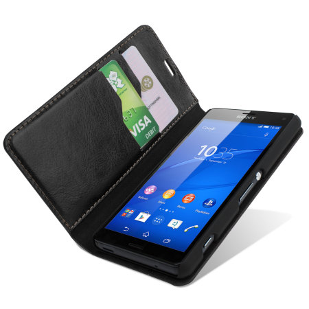 sony xperia z3 compact. Encase Leather-Style Sony Xperia Z3 Compact Wallet Case - Black