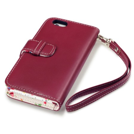 Encase Leather-Style iPhone 6S / 6 Wallet Case - Floral Red