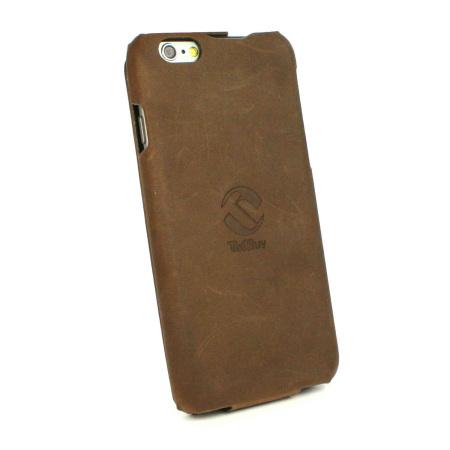 Tuff-Luv Tuff-Grip iPhone 6S / 6 Genuine Leather Flip Case - Brown