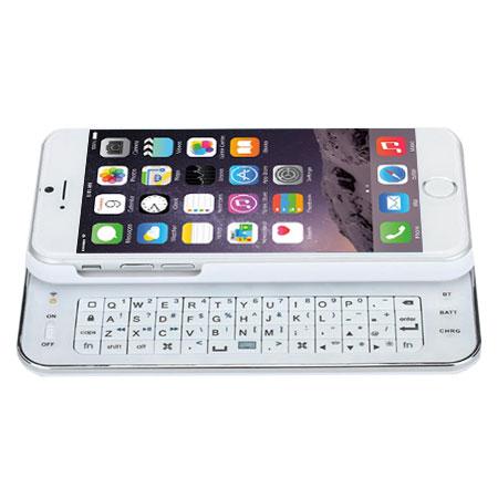 new styles 57d27 e9911 Ultra-Thin Bluetooth Wireless Sliding iPhone 6 Keyboard Case - White