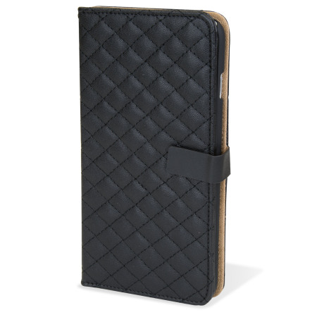 Encase Leather-Style Diamond Quilted iPhone 6 Plus Wallet Case - Black