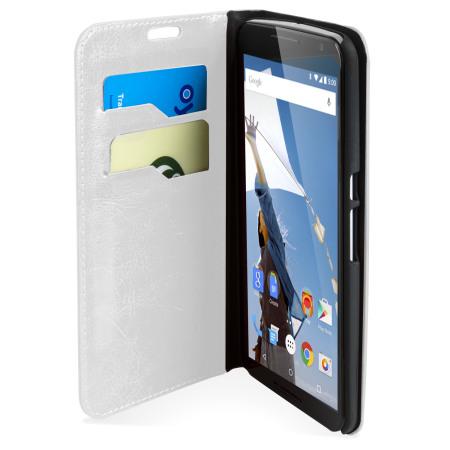 Encase Leather-Style Nexus 6 Plånboksfodral - Vit