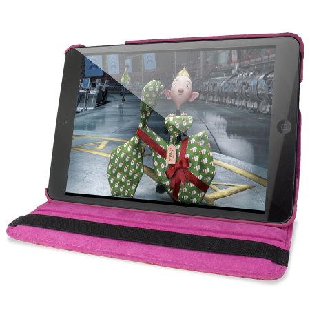 Encase Doodle Rotating iPad Mini 3 / 2 / 1 Case - Hot Pink