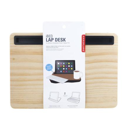 Kikkerland iBed Work Lap Desk W/ Tablet & Smartphone Holder - Wood