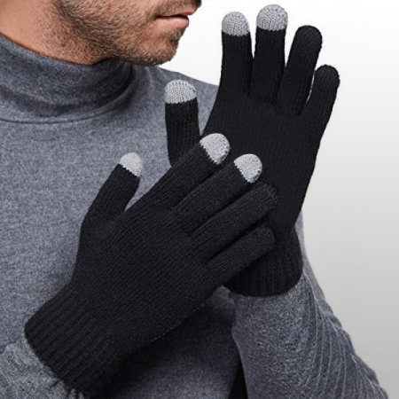 smart touchtip mens gloves for capacitive touch screens black wiped all out