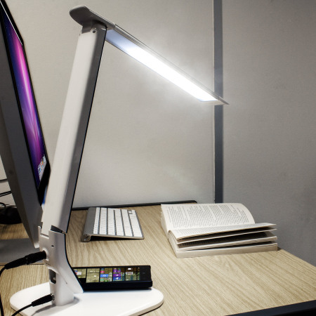 Brilliant Desk Lamp On With Wireless Charging White R Inside Inspiration