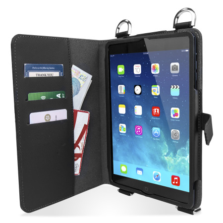 Olixar Premium iPad Mini 3/2/1 Wallet Case & Shoulder Strap - Black