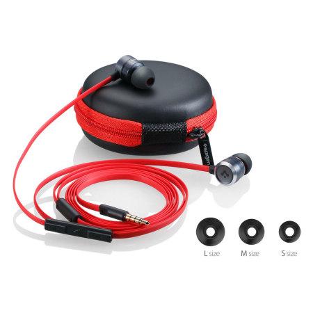 Spigen TEKA Aluminium Earphones - Black / Red