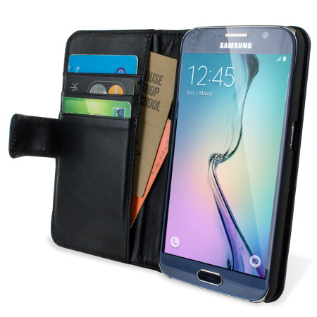 Olixar Premium Genuine Leather Samsung Galaxy S6 Wallet Case - Black