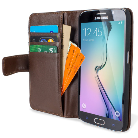 Olixar Premium Genuine Leather Samsung Galaxy S6 Wallet Case - Brown