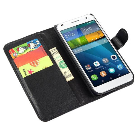 Encase Leather-Style Huawei Ascend G7 Wallet Case - Black