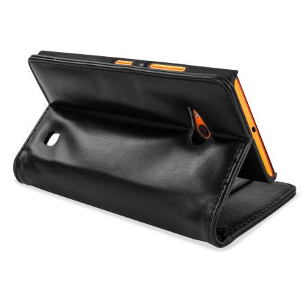 Olixar Nokia Lumia 735 Genuine Leather Wallet Case - Black