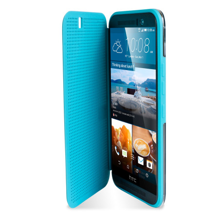 Official HTC One M9 Dot View Ice Premium Case - Turquoise