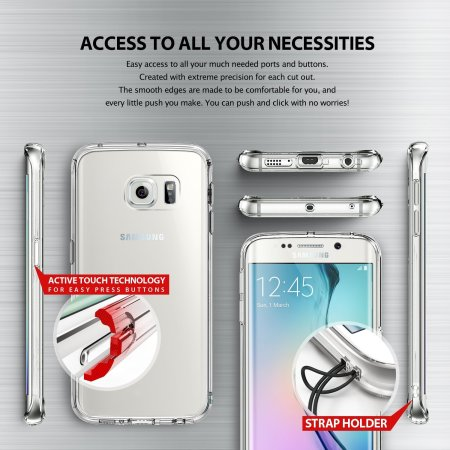 newest 76547 a26a2 Rearth Ringke Fusion Samsung Galaxy S6 Edge Case - Crystal Clear
