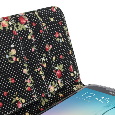 Olixar Leather-Style Samsung Galaxy S6 Floral Wallet Case - Black
