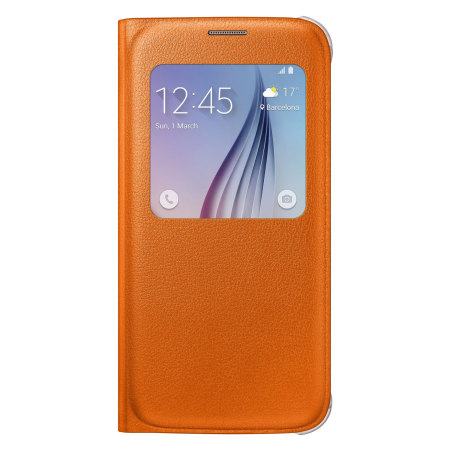 Official Samsung Galaxy S6 S View Premium Cover Case - Orange