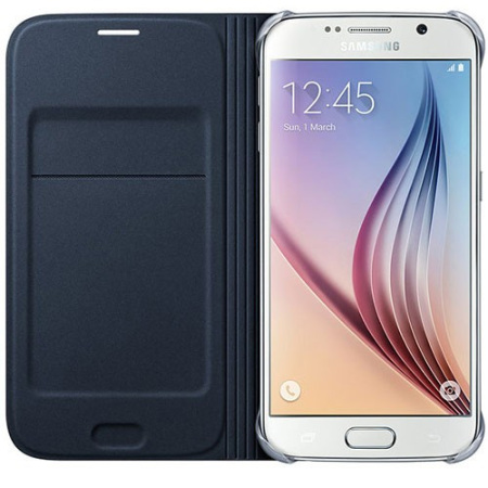 low priced 49704 4227e Official Samsung Galaxy S6 Flip Wallet Cover - Blue / Black