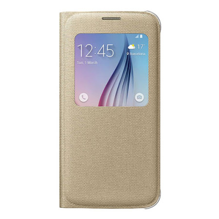 Official Samsung Galaxy S6 S View Fabric Premium Cover Case - Gold