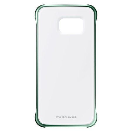 nice official samsung galaxy s6 edge clear cover case green