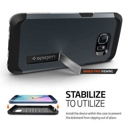 Spigen Tough Armor Samsung Galaxy S6 Edge Case - Metal Slate