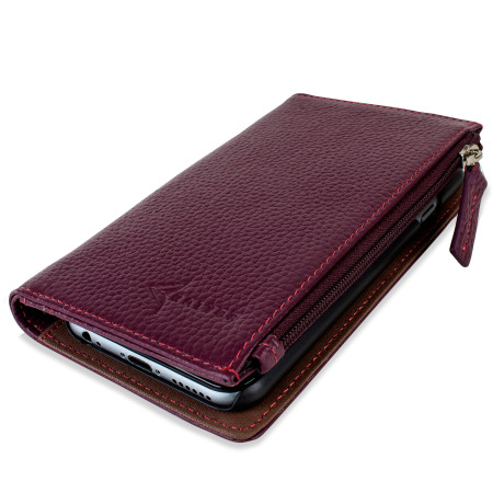 san francisco 8eaf0 1be5a Kalybr Zippa Genuine Leather iPhone 6 Wallet Case - Mulberry Pink