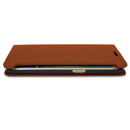 Olixar Leather-Style Galaxy S6 Edge Wallet Stand Case - Light Brown