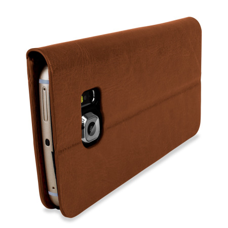 olixar leather style galaxy s6 edge wallet stand case light brown looking