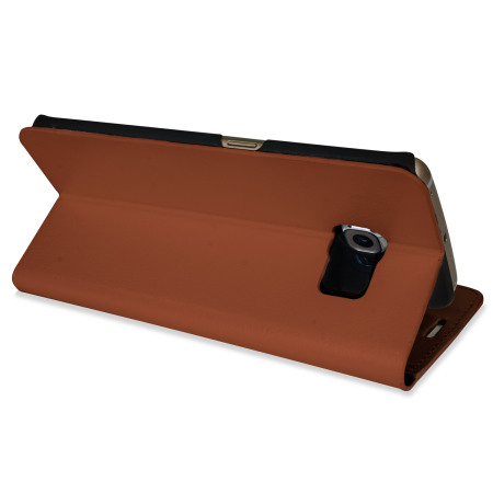tablet only olixar leather style galaxy s6 edge wallet stand case light brown Backup