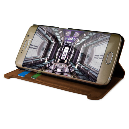 olixar leather style galaxy s6 edge wallet stand case light brown