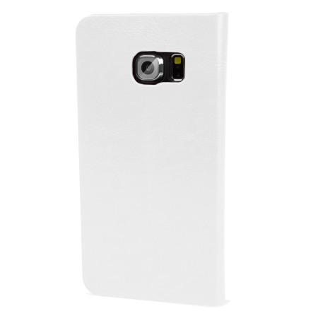 Olixar Leather-Style Galaxy S6 Edge Wallet Stand Case - White