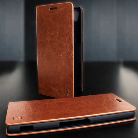 Olixar Leather-Style Sony Xperia Z3+ Wallet Stand Case - Light Brown