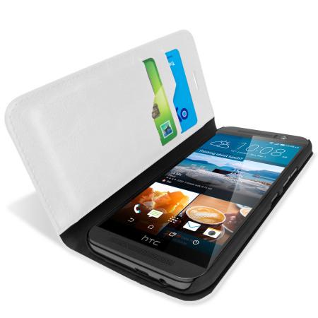 Olixar Leren-Stijl HTC One M9 Wallet Stand Case - Wit