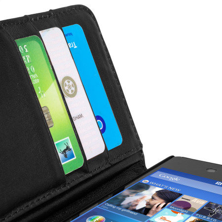 Housse Portefeuille Sony Xperia Z3+ Cuir Véritable Olixar – Noire