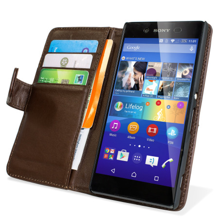 Olixar Sony Xperia Z3+ Genuine Leather Wallet Case - Brown