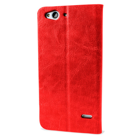 Olixar Leather-Style ZTE Blade S6 Wallet Stand Case - Red