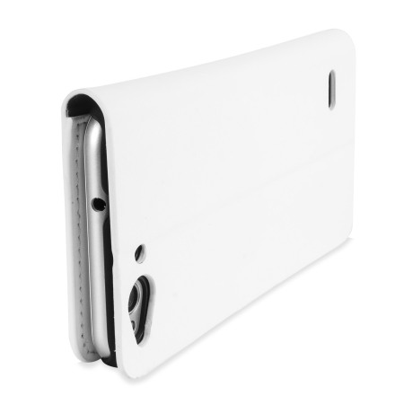 Olixar Leather-Style ZTE Blade S6 Wallet Stand Case - White