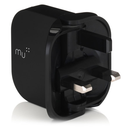 MU Duo Foldable USB Mains Charger 2.4A - Black