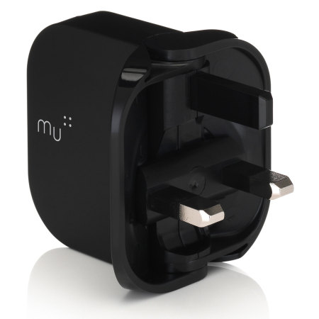 MU Tablet Foldable USB Mains Charger 2.4A - Black